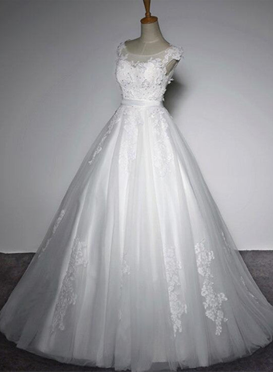 Simple Wedding Gowns, Tulle Round Neckline Lace Detail Party Dress ...