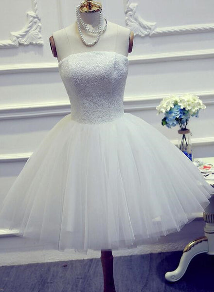 Cute White Short Graduation Dress, Short Tulle Ball Party Dress, Short Wedding Dress