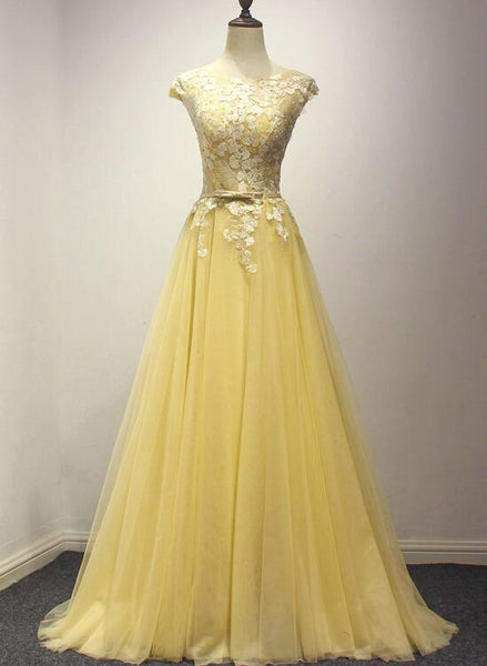 Pretty Yellow Tulle Party Dress, Yellow Formal Dress, Prom Dress 2018