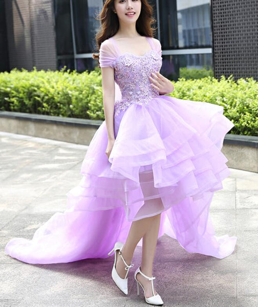Lavender Organza High Low Pretty Sweetheart Formal Dress, Organza Formal Dress, Prom Dresses