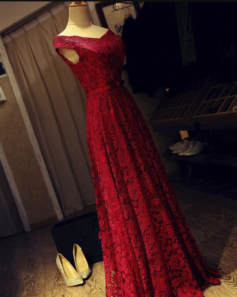 Dark Red Lace Off Shoulder Long Formal Gown with Belt, Pretty Party Dress, Prom Dress