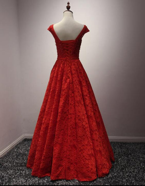 Red Lace Long A-line Elegant Handmade Beaded Prom Gowns, Red Evening Formal Dress, Lace Party Gowns