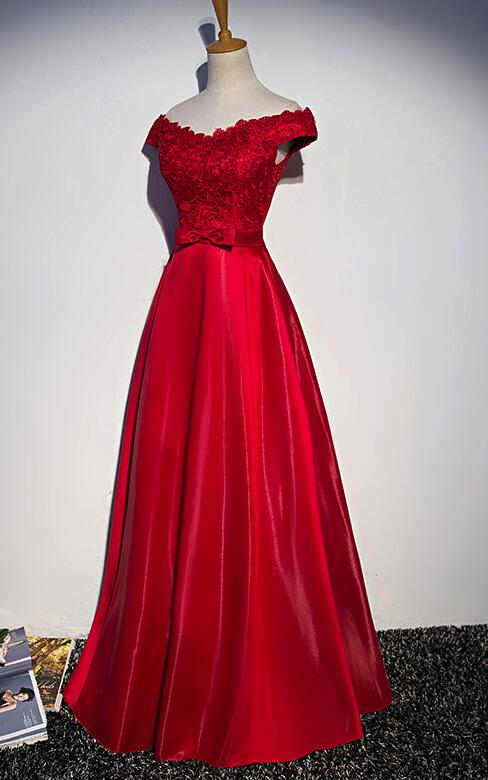 3416a85c372 Beautiful Red Satin Long Off Shoulder Party Dress