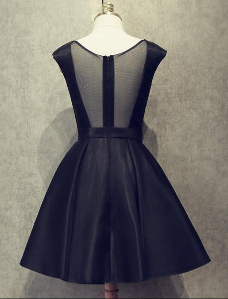 Black Short Satin Homecoming Dresses, Black Party Dresses, Formal Dress for Occasion