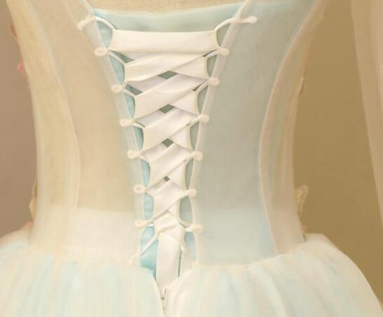 Light Blue Gorgeous Butterfly Long Formal Gowns, Handmade Tulle Gowns, Charming Teen Dresses
