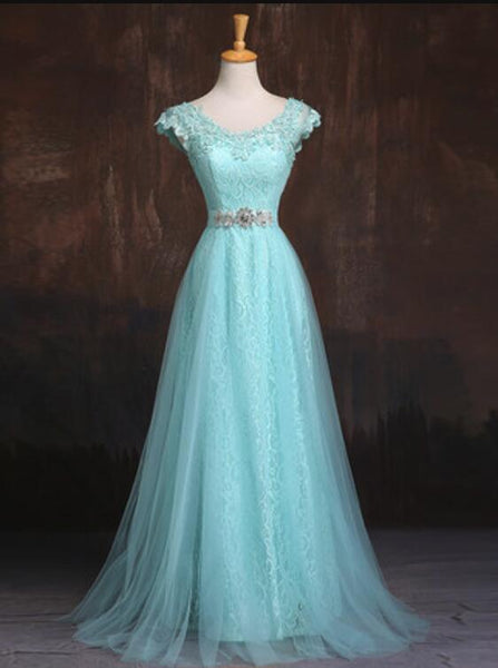 Blue Cap Sleeves Lace and Tulle with Belt Party Dress, Charming Formal Gowns for Sale, Pretty Dresses