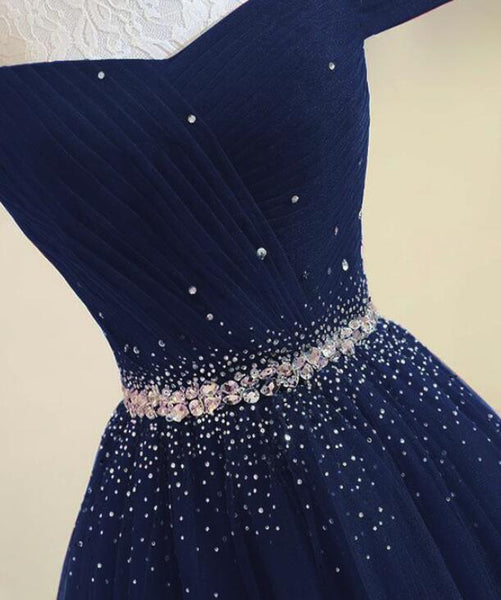 Navy Blue Tulle Beaded Prom Gowns, Tulle Party Dresses, Elegant Formal Dresses