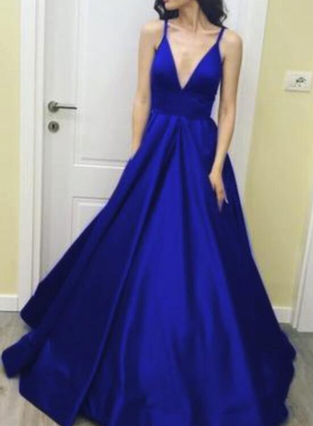 Royal Blue Straps A-line Prom Gowns, Blue Party Dresses, Floor Length Party Dresses