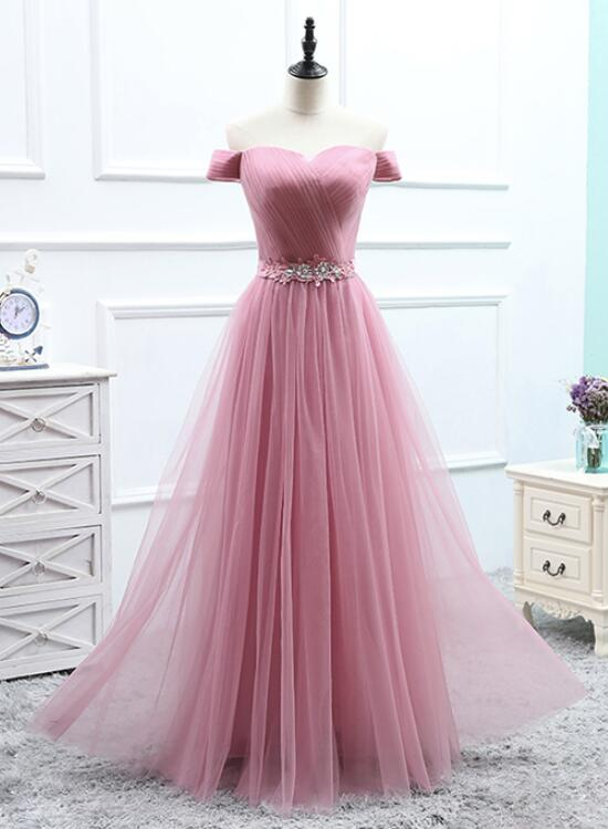 eb415c84ba2 Charming Tulle Dark Pink Mismatch Long Bridesmaid Dresses ...