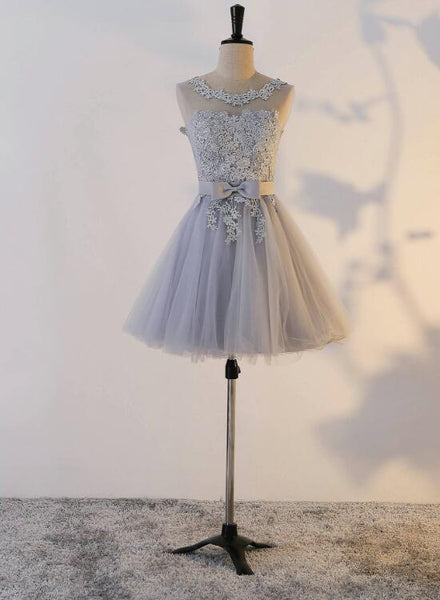 Grey Short Tulle Cute Party Dress, Handmade High Quality Party Dress, Teen Party Dresses
