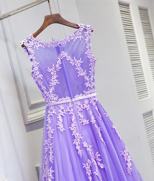 Lovely Light Purple Round Neckline Floor Length Party Dress, Prom Dress 2018, Beautiful Formal Gowns