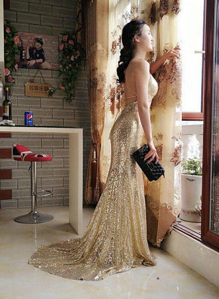 Sexy Gold Cross Back Sparkle  Sheath Sweep Train Long Prom Dress, Sequin Party Dress, Charming Evening Gowns