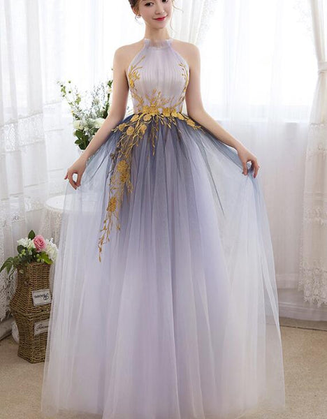 Beautiful Gradient Tulle Halter Elegant Formal Gowns, Charming Party Gowns Graduation Dress