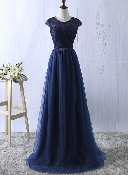 Navy Blue Lace and Tulle Long Bridesmaid Dresses, Pretty Simple Bridesmaid Dresses, Prom Dress 2018