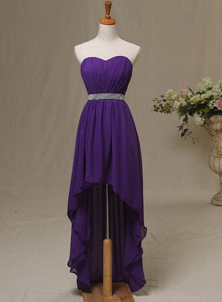 Purple High Low Formal Dresses, Pretty Simple Chiffon Formal Dresses, Lovely Party Dresses