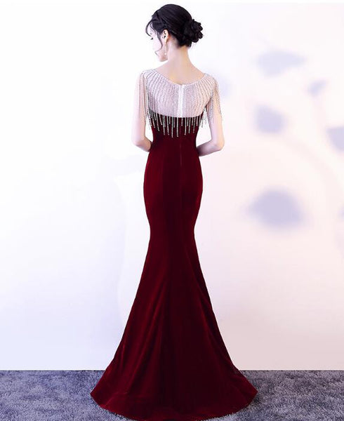 Sexy Velvet Mermaid Long Evening Party Dress 2018, Beautiful Formal Dresses 2018, Charming Gowns