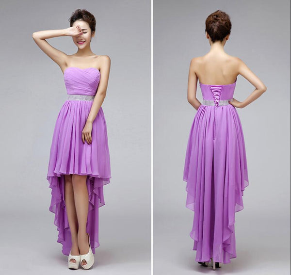 Chiffon High Low Bridesmaid Dresses, Beautiful Party Dresses, Sweetheart Lace-up Formal Dresses