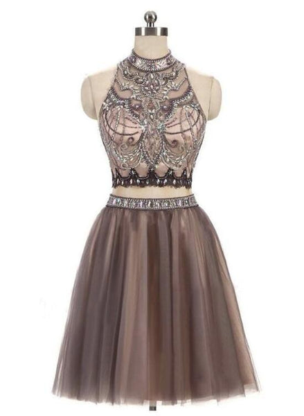 Two Piece Homecoming Dresses 2018, Tulle Party Dresses, Short Formal Dresses 2018