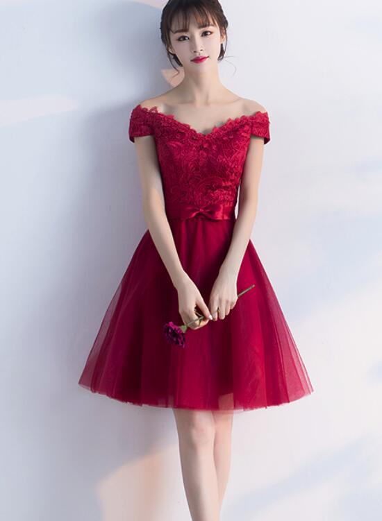 Wine Red Cheap Homecoming Dresses 2018 Off Shoulder Short Party
