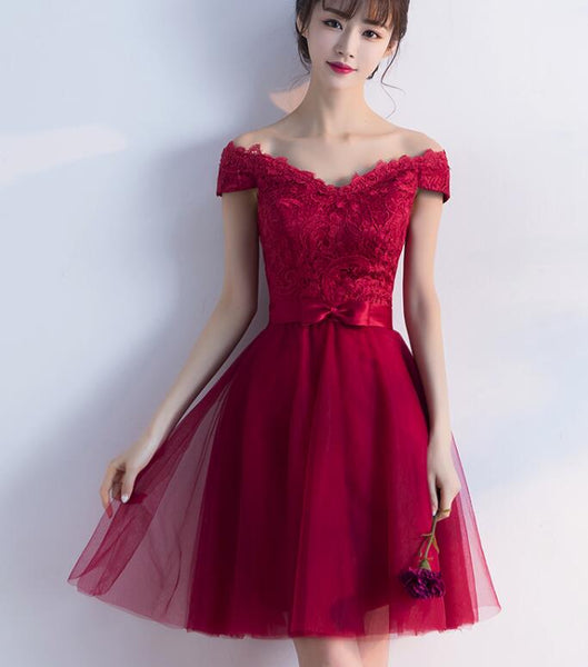 Wine Red Cheap Homecoming Dresses 2018, Off Shoulder Short Party Dress, Formal Dresses