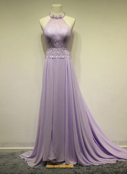 Lavender Chiffon Halter Romantic Sweep Train Formal Gowns, Pretty Party Dresses, Formal Gowns 2018