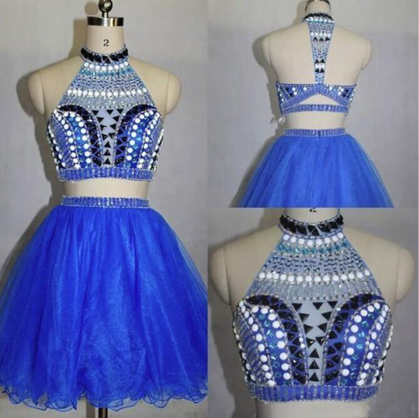 Two Piece Stylish Blue Party Dresses, Beaded Party Dress 2018, Homecoming Dresses