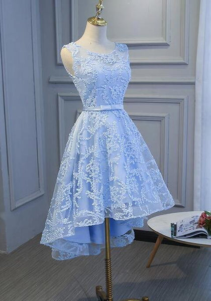 Light Blue High Low Homecoming Dresses 2018, Blue Party Dress with Belt, Cute Formal Dresse