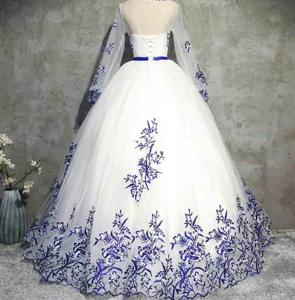 White Gorgeous Tulle Lace Applique Ball Gown, Formal Gowns, Blue Applique Gowns