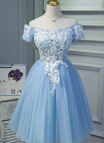 Light Blue Tulle Homecoming Dress,Appliques Graduation Dress 2018, Off Shoulder Party Dress