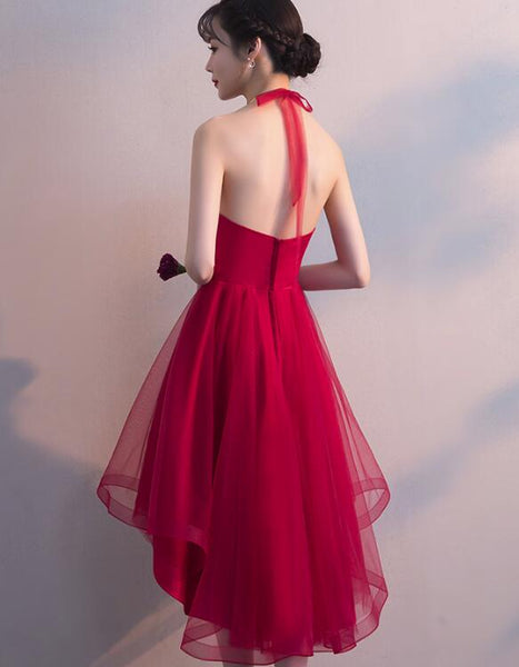 Wine Red Halter High Low Stylish Homecoming Dresses, Red Formal Dress, Pretty Party Dress
