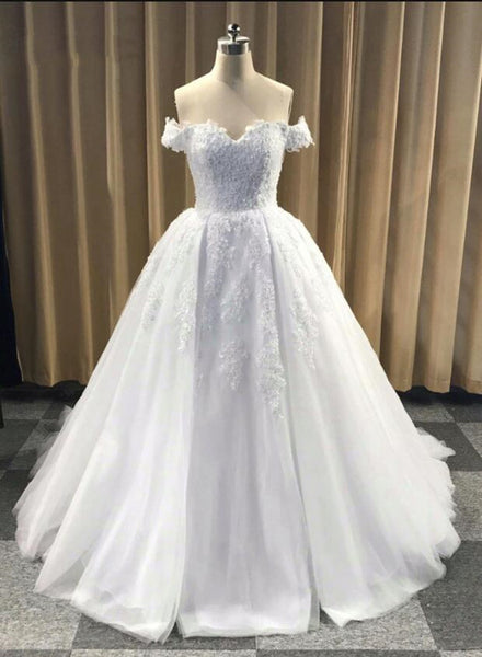 High Quality Handmade Tulle Off Shoulder White Formal Dress, White Bridal Gowns, Party Dresses