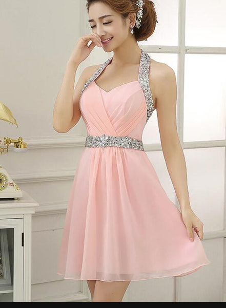 Pink Halter Cute Mini Chiffon Beaded Party Dress, Sequins Short Formal Dress, Pink Homecoming Dresses