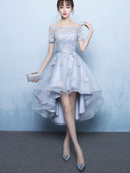 Grey High Low Stylish Applique Homecoming Dress, Cute Party Dresses, High Low Formal Dress