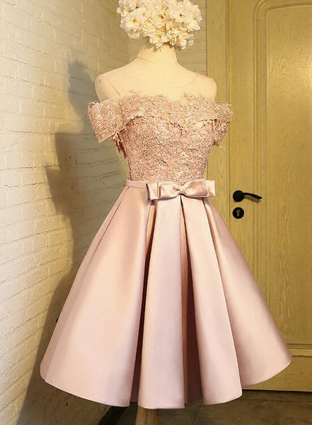 Lovely Pink Short Lace Homecoming Dresses, 8th Grade Prom Dresses, Graduation Formal Dresses