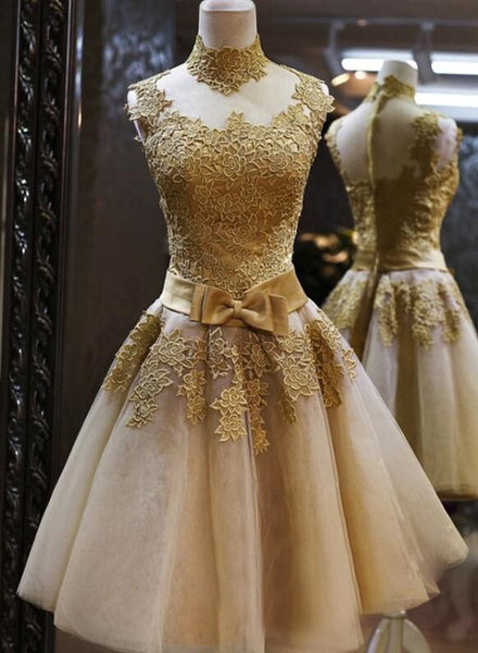 Gold Short Knee Length Lace Homecoming Dress 2018, Short Prom Dress, Pretty Formal Dresses
