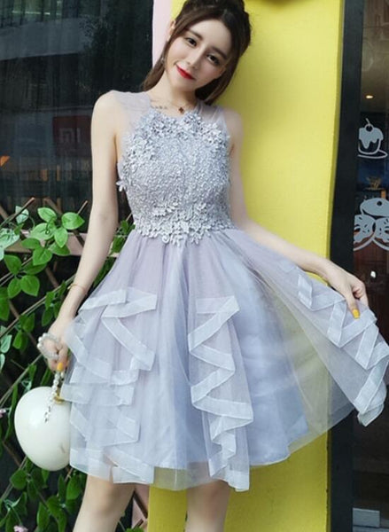 Grey Tulle and Applique O neckline Party Dress, Grey Women Dress, Homecoming Dress for Sale