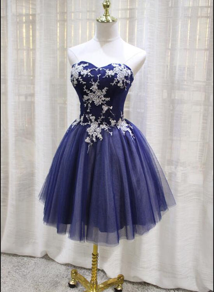Blue Sweetheart with Applique Ball Homecoming Dresses, Dark Blue Tulle Short Party Dress