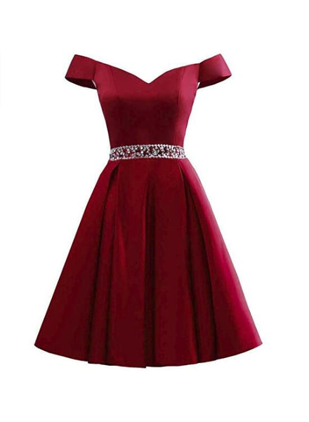 Wine Red Off Shoulder Satin Homecoming Dress, Cute Party Dress, Dark Red Homecoming Dress 2018