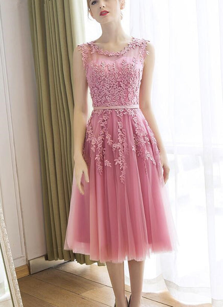 Lovely Party Dress for Woman, Tulle Tea Length Handmade Formal Dress, Cute Graduation Dress