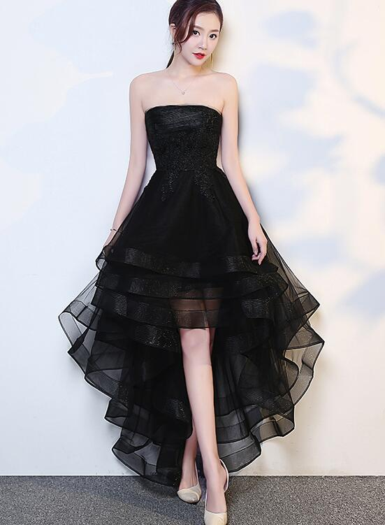 Black High Low Tulle And Applique Fashion Homecoming