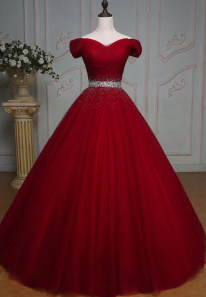 Dark Red Tulle Gorgeous Ball Gown, Burgundy Off Shoulder with Beaded Waist, Pretty Formal Dress