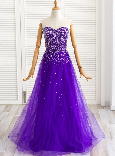 Dark Purple Beaded Tulle Long Tulle Party Dress, Gorgeous Formal Dress for Party