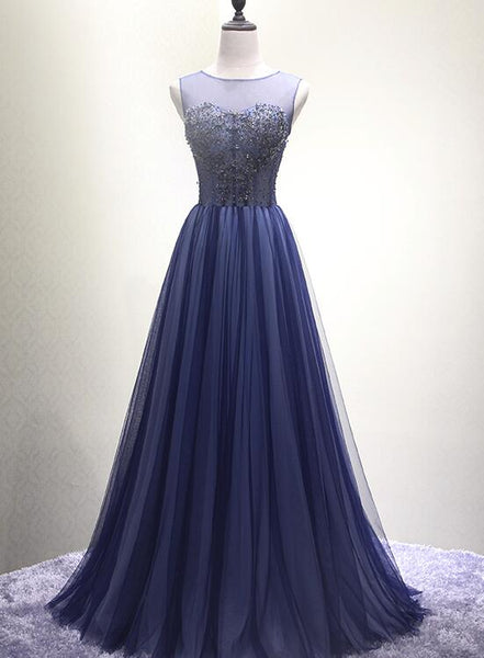 Navy Blue New Style Floor Length Formal Dress, Pretty Party Dress 2019, Long Formal Dresses