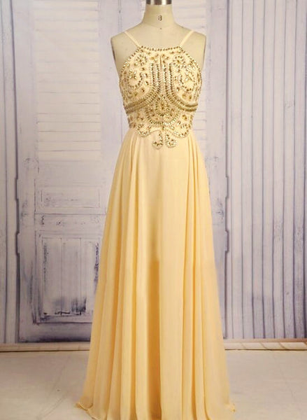 Light Yellow Straps Long Backless Beaded Prom Dress, Pretty Yellow Chiffon Prom Dress, Pretty Party Dress