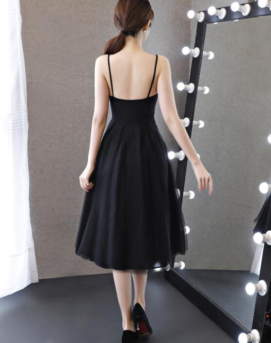 567c879aa5 ... Pretty Chiffon and Tulle V-neckline Straps Knee Length Black Party Dress