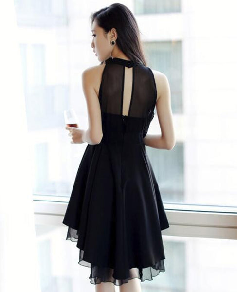 Black High Low Chiffon Halter Women Dress, Cute High Low Women Summer Dress, Black Dresses