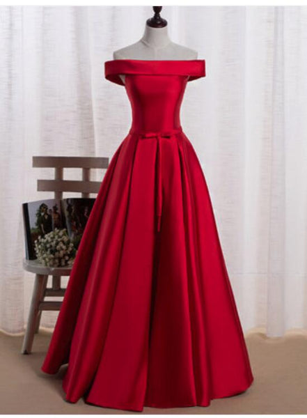 Red Satin Off Shoulder Gorgeous Party Dress, Red Party Dress, Red Formal Dress 2019