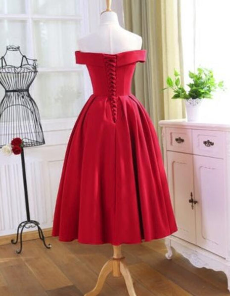 Red Tea Length Vintage Style Wedding Party Dress, Off Shoulder Formal Dress, Red Party Dress