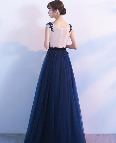 Navy Blue Pretty Lace Applique Long Evening Party Dress, Blue Prom Dress 2018, Beautiful Gowns