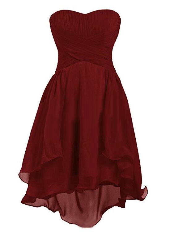 9f6a044a782 Wine Red Chiffon Sweetheart Simple Short Wedding Party Dress